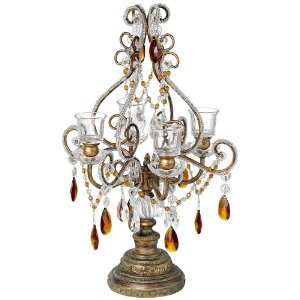Bronze and Amber Beaded Candelabra