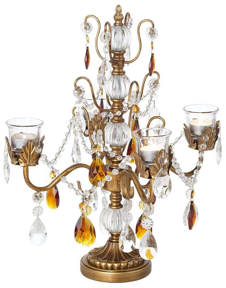 Amber & Antique Gold Beaded Candelabra
