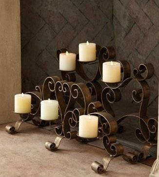 Bronze Scroll Fireplace Candelabra