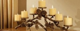 Pinecone Mantle Centerpiece Candleholder