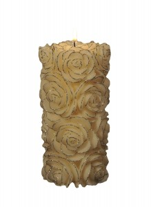Silver Rose Pillar Candle