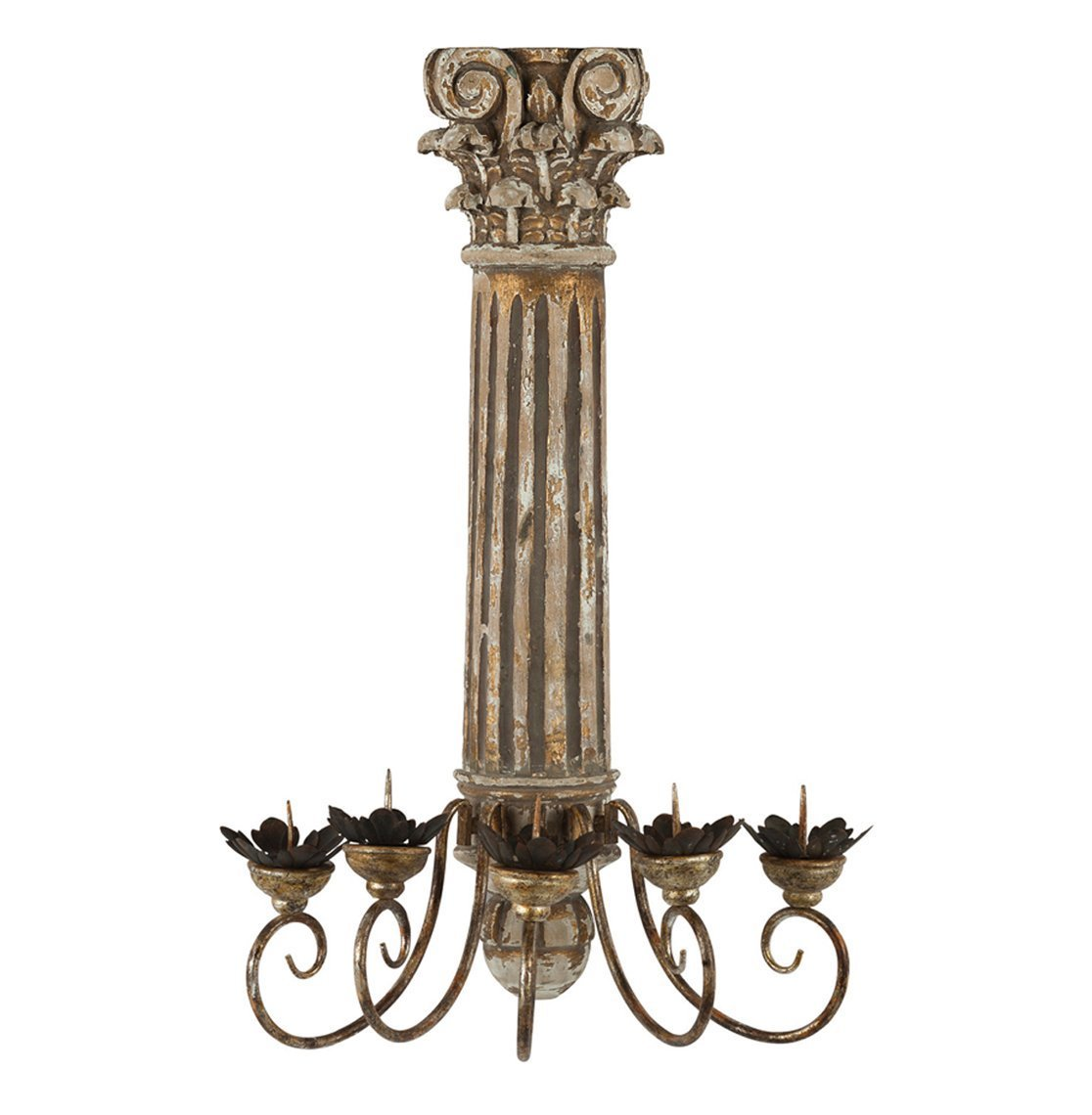 Corinthian Pillar Antique Gold Candelabra pair
