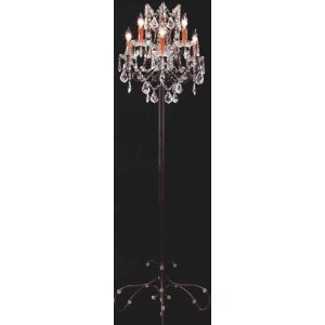 Six Light Crystal Floor Candelabra