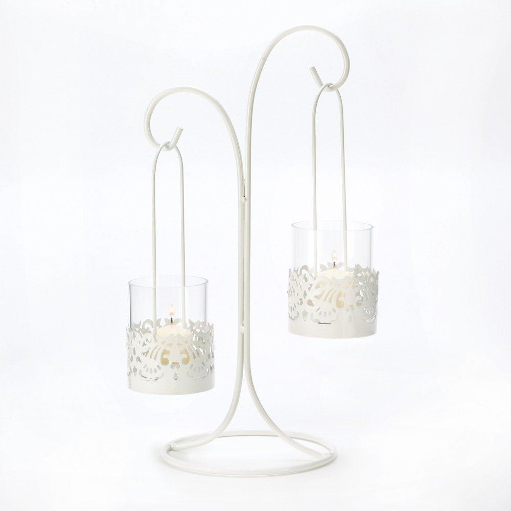 LACE CUTOUT CANDELABRA WEDDING CENTERPIECES