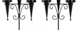 gothic HALLOWEEN set off 2 Goth Castle Black Candle Holder Candelabra