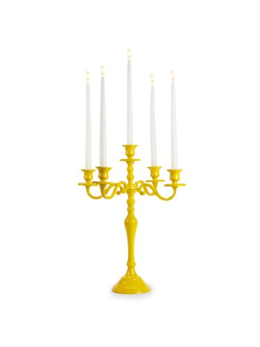 18 inch Metal 5 Arm Yellow Taper Candelabra candle holder