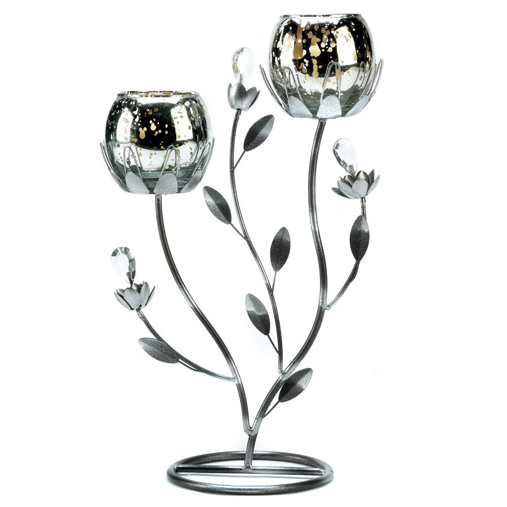 Silver Tulip Candle Holder Candelabra Stand Centerpiece 2
