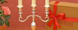 Candelabra Boxed Gift Set - Silver; Complete with Candelabra, Candles & Snuffer