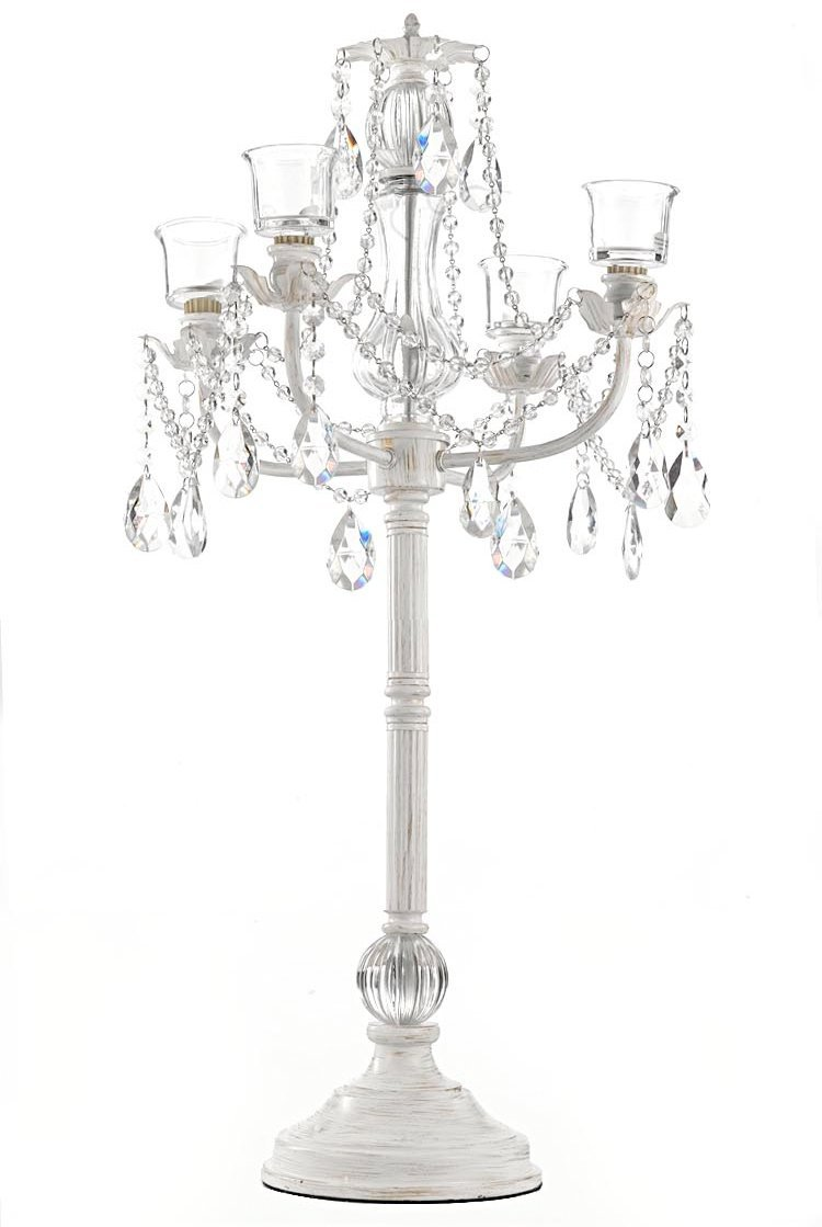 WHITE WEDDING CANDELABRAS CANDELABRA CENTERPIECE