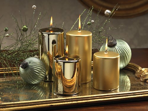 Satin Metallic Pillar Candle  gold