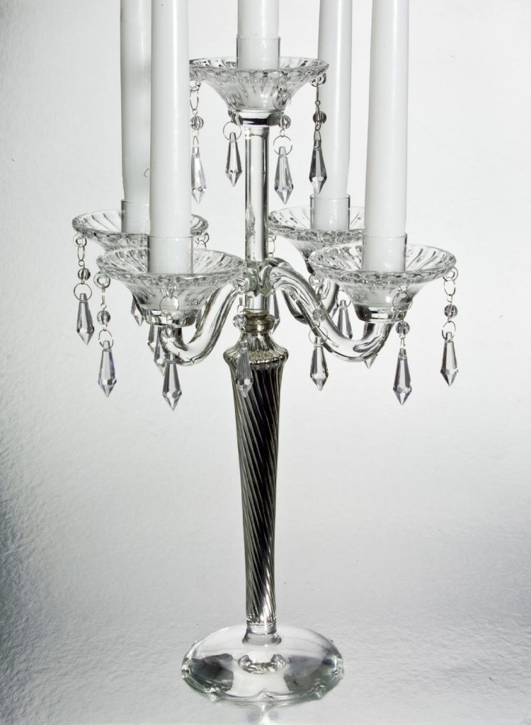 5 Light Crystal Candelabra With Silver Tapered Stem