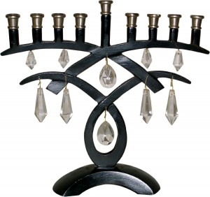 9-Branch Menorah with Hanging Crystals and Black & Antique Pewter Finish 8.25 H 1