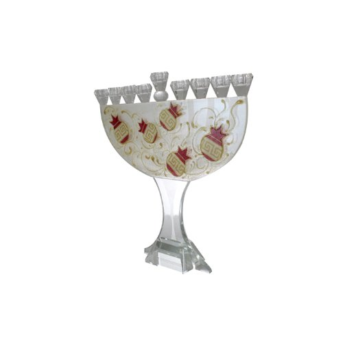 Crystal Hanukkah Menorah with Pomegranates and Lines in Red and Gold