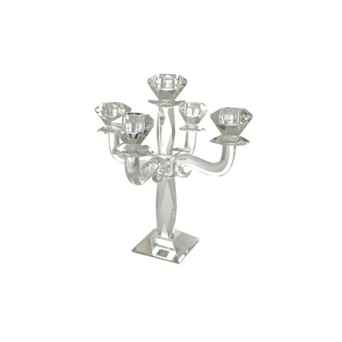 Five Branch Crystal Candelabra with Square Base and Raised Center