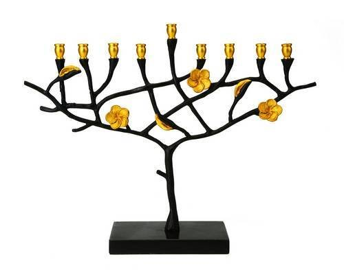 Judaica Beautiful Two Tone Menorah w Marble Base w Black Gold Frangipani Design candelabra