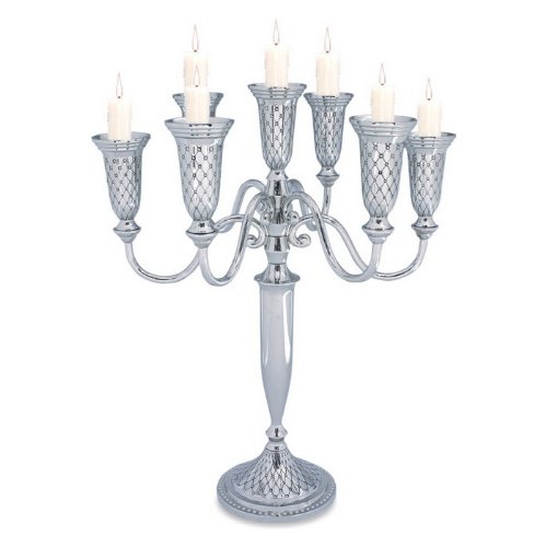 Seven Branch Nickel Candelabra with Diamond Shaped Pattern