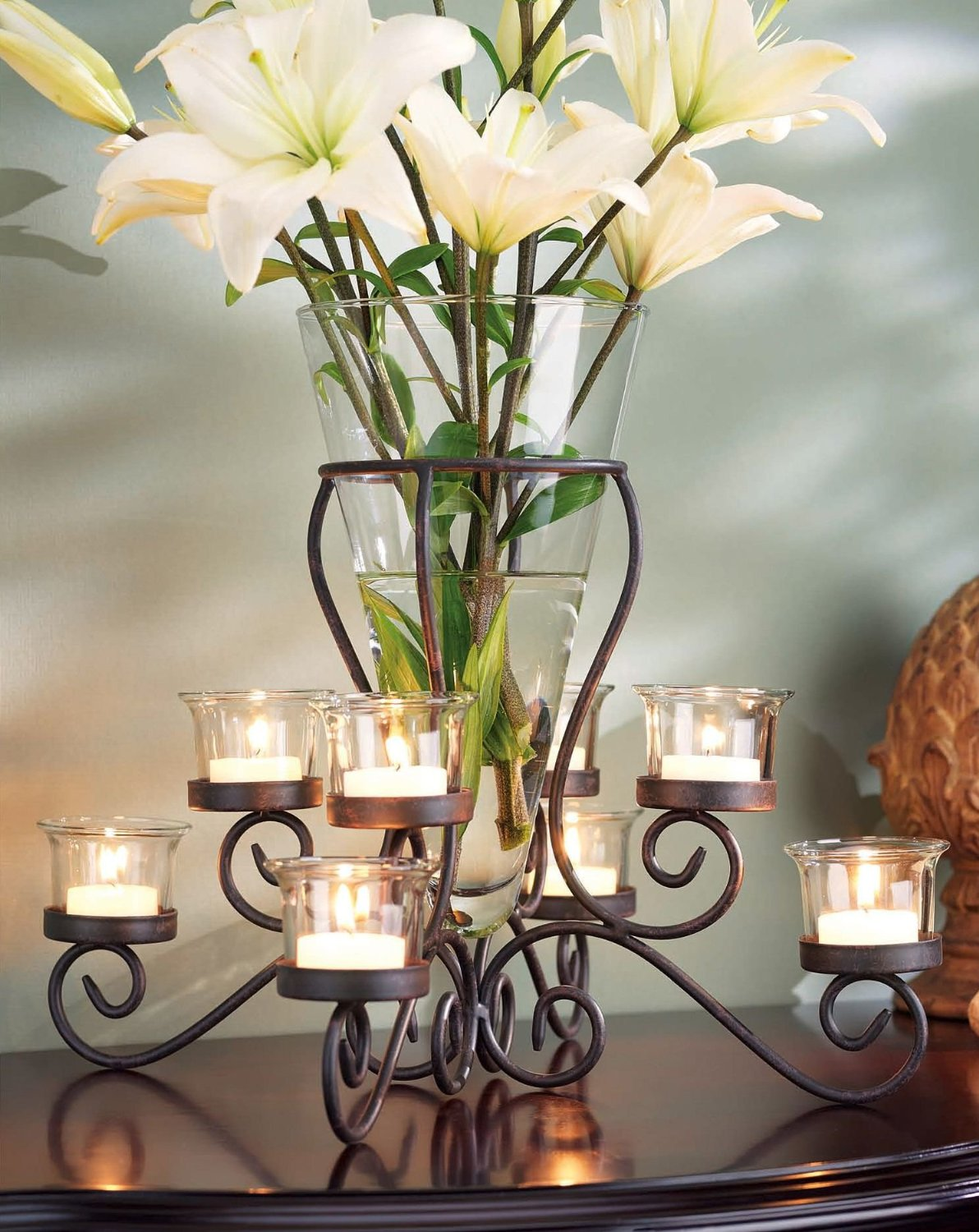 Elegant Wrought Iron Tabletop Tealight Candle Holder Vase Centerpiece