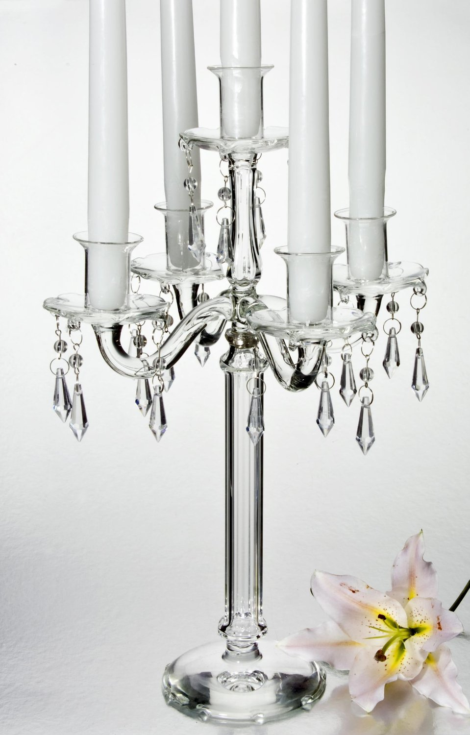 5 LIGHT CRYSTAL CANDELABRA W DROPS - crystal candelabra