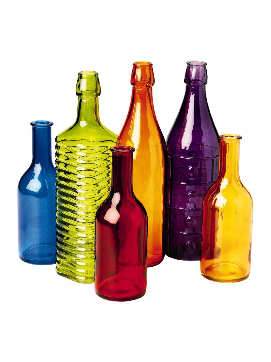 Colorful Bottle Tree Bottles, Set of 6
