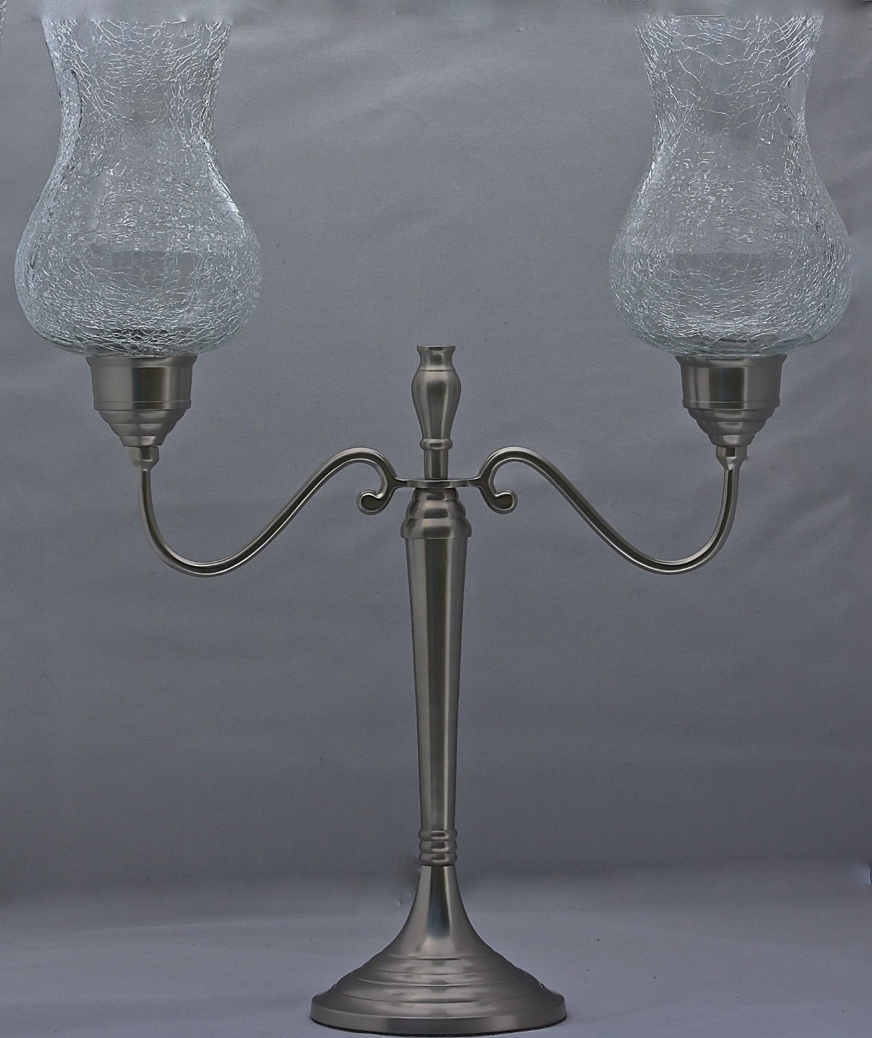 Crackle Hurricane Candelabra, Pewter