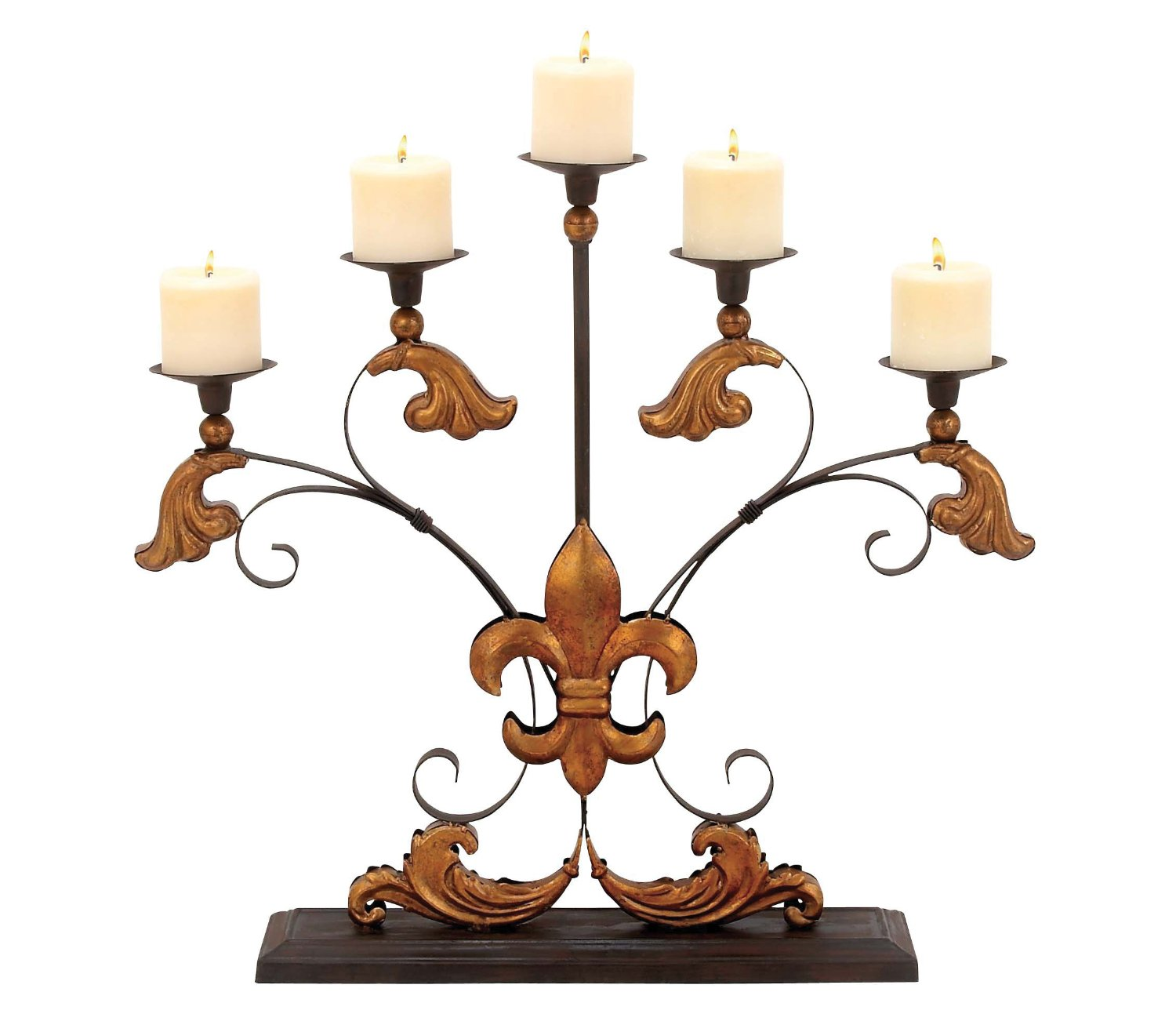 gold scroll 5 arm Metal Candelabra