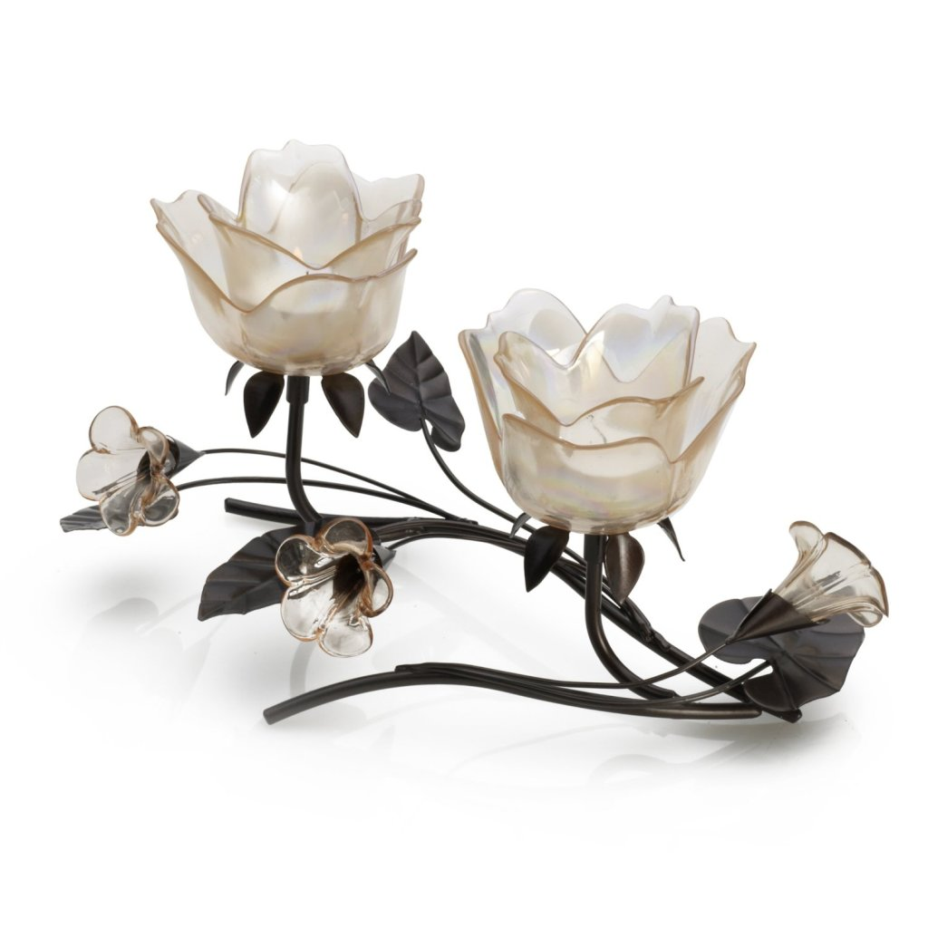 Candelabra Centerpiece, Rose shapes 2 lite