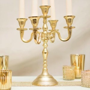 Candelabra, 5 Taper Candle Holder, 12 inches, Distressed Brass