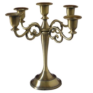 Metal Pillar Candelabra Wedding Gift Centerpiece Chic Decor Candle Holders Bronze/gold  (5 candle holders)