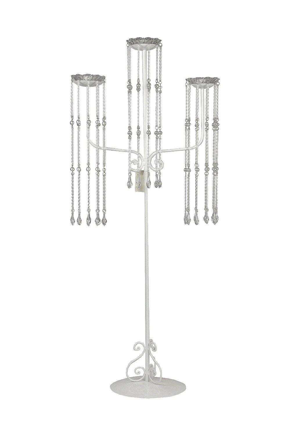White Shiny Beaded Candelabra, 39 inch