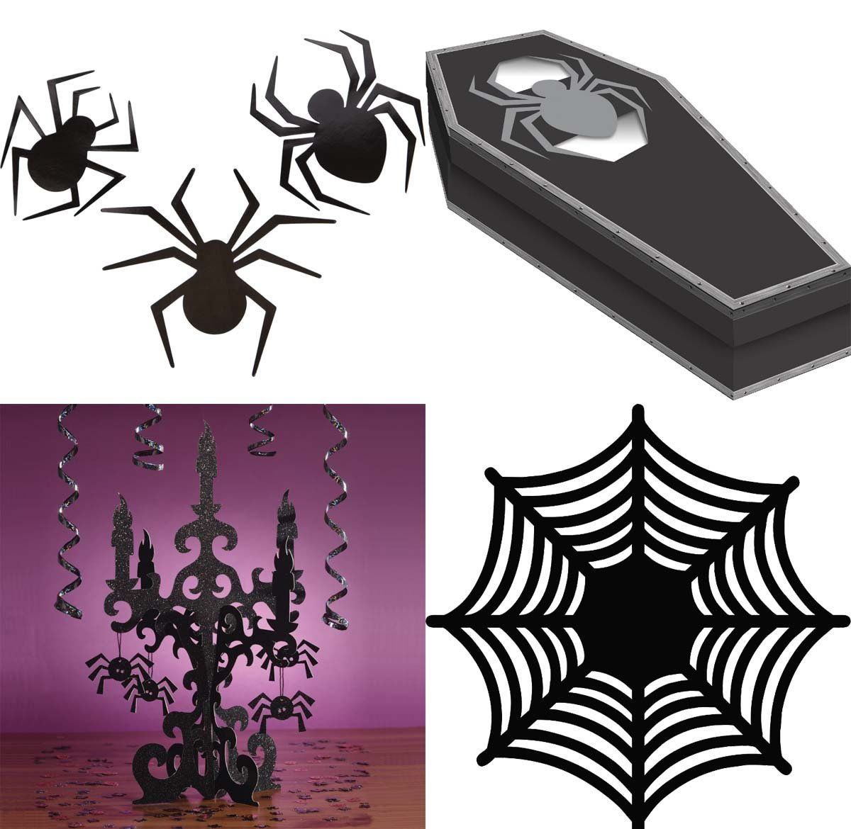 Halloween Candealabra Accessories Kit with spiders