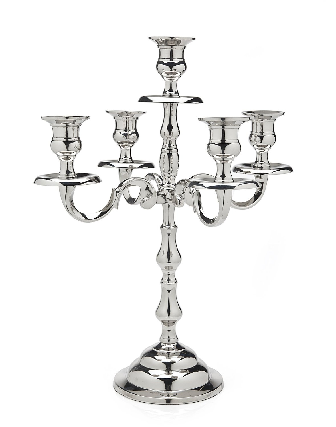 Classic Nickel Plated Candelabra 5 Light fluted
