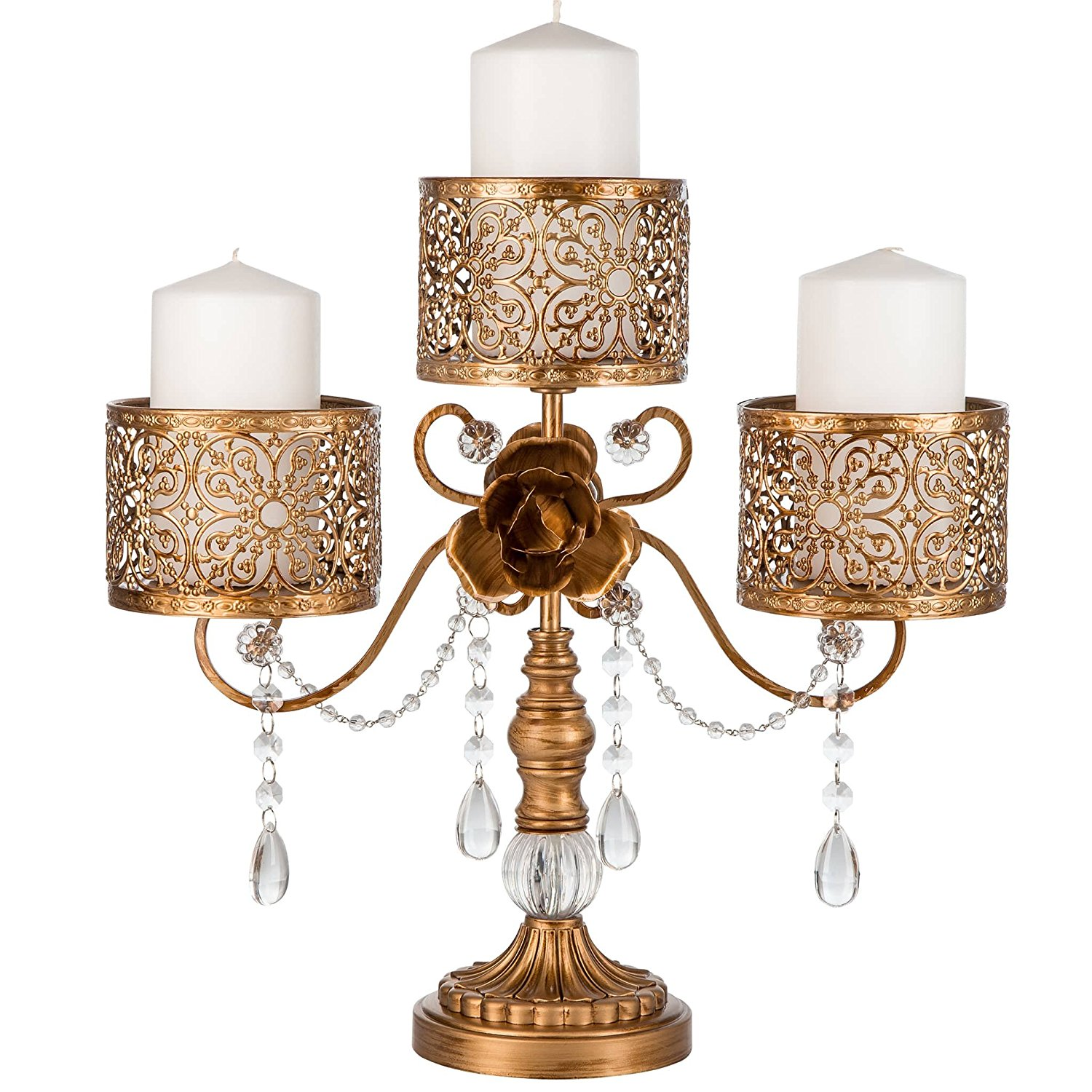 antique look candelabra with scrollwork detail and rose accent with candles