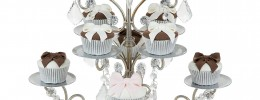 Cupcake Candelabra 8 Piece Cupcake Stand with 3 Glass Votive Candle Holders, Crystal Dangles (Silver)