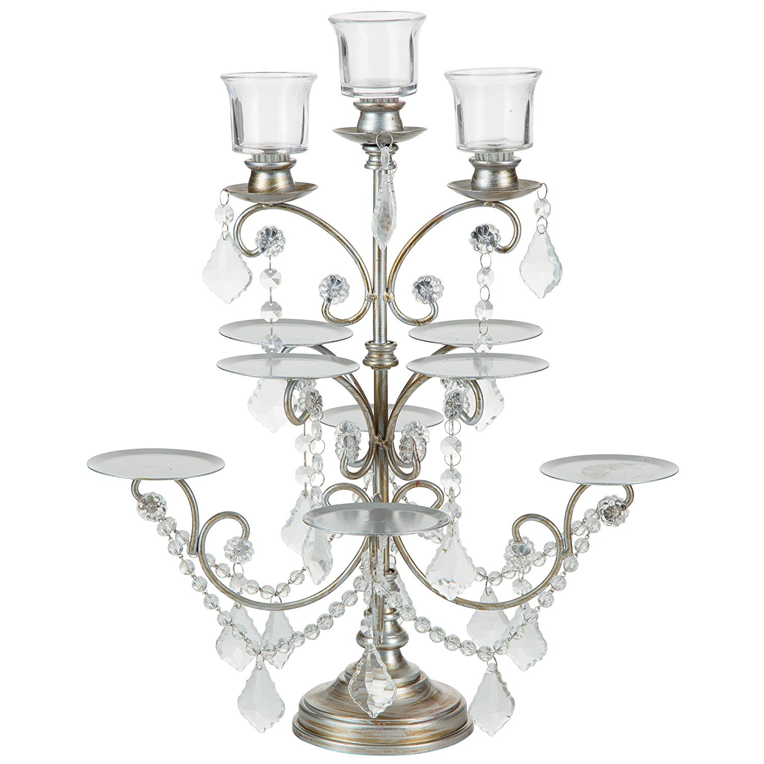 cupcake candelabra stand with 3 votive candles