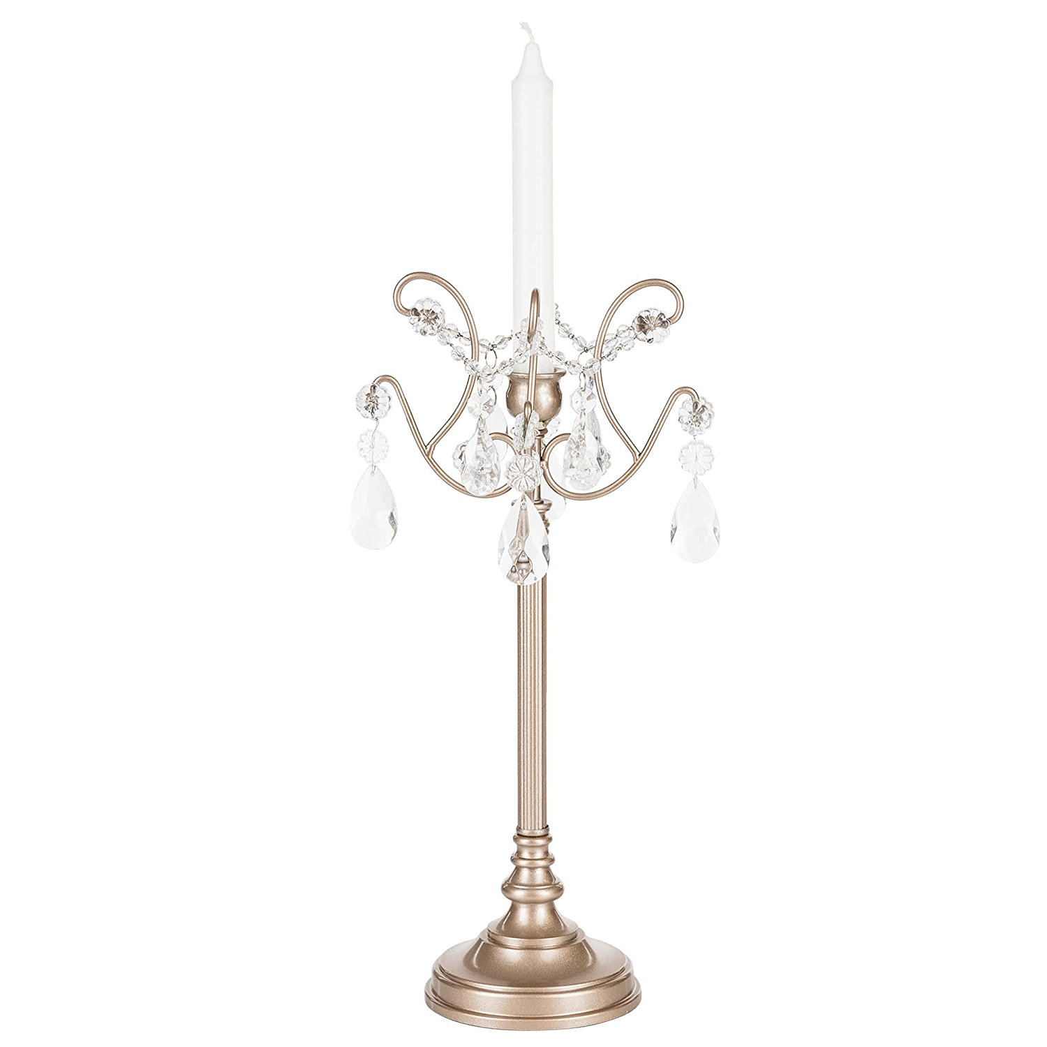 Candelabra with Glass Crystals, Wedding Centerpiece Home Decoration Tea Light and Taper Candle (Silver)