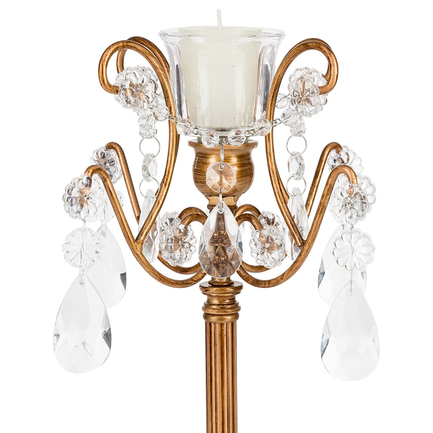 Candelabra with Glass Crystals, Wedding Centerpiece Home Decoration Tea Light and Taper Candle (Gold)