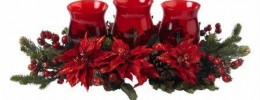 Poinsettia and Berry Christmas Candelabra