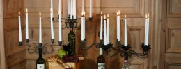 Wine Bottle Candelabra, Holds Eight Candles